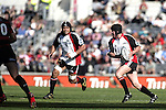 Blair Feeney has No 8 Luke Mealamu in support as he makes a run during the Ranfurly Shield challenge against Canterbury at Jade Stadium on the 10th of September 2006. Canterbury won 32 - 16.