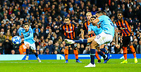 Manchester City's Gabriel Jesus scores his side's fourth goal from the penalty spot<br /> <br /> Photographer Alex Dodd/CameraSport<br /> <br /> UEFA Champions League Group F - Manchester City v Shakhtar Donetsk - Wednesday 7th November 2018 - City of Manchester Stadium - Manchester<br />  <br /> World Copyright &copy; 2018 CameraSport. All rights reserved. 43 Linden Ave. Countesthorpe. Leicester. England. LE8 5PG - Tel: +44 (0) 116 277 4147 - admin@camerasport.com - www.camerasport.com
