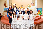 Children from Derryquay N.S. pictured at their First Holy Communion held in St. Brendan's Church, Curaheen on Saturday with principal Siobhán Uí Dhónaill, class Teacher Maura O'Doherty and  Fr. Francis Nolan
