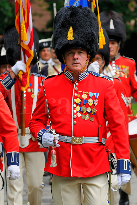 Members of the Second Company Governor's Foot Guard, Field Music Unit, New Haven, Connecticut, march during a July Fourth ceremony to recognize fallen patriots of the Revolutionary War, Grove Street Cemetery, New Haven, USA.
