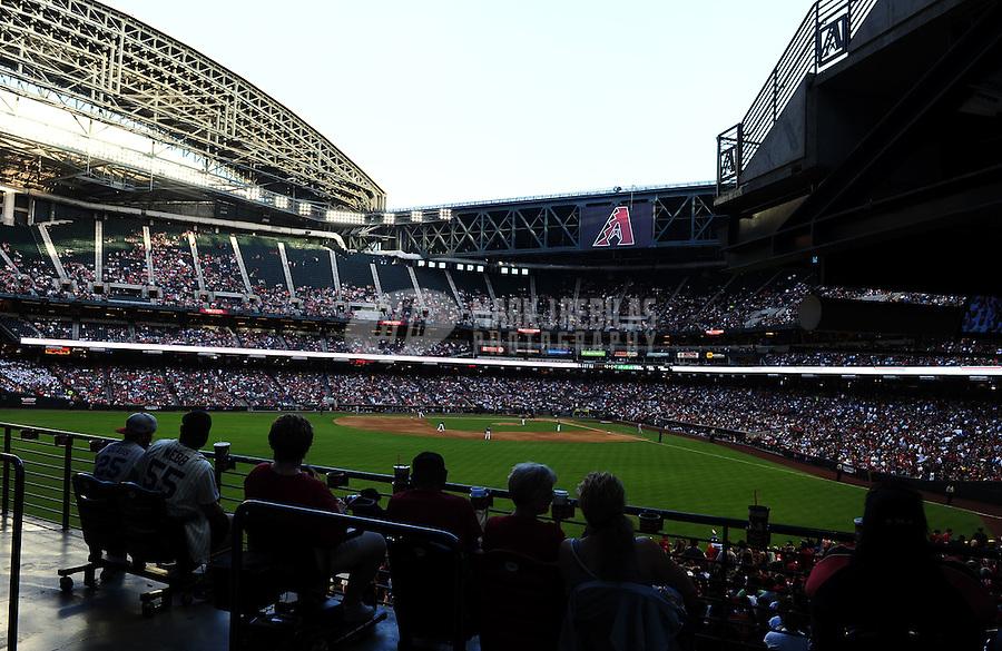 May 12, 2012; Phoenix, AZ, USA; Overall view of Chase Field during the game between the Arizona Diamondbacks against the San Francisco Giants. Mandatory Credit: Mark J. Rebilas-