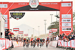 Italian National Champion Elia Viviani (ITA) Deceuninck-Quick Step outsprints Fernando Gaviria (COL) UAE Team Emirates and Sam Bennett (IRL) Bora-Hansgrohe to win Stage 5 of the 2019 UAE Tour, running 181km form Sharjah to Khor Fakkan, Dubai, United Arab Emirates. 28th February 2019.<br /> Picture: LaPresse/Massimo Paolone | Cyclefile<br /> <br /> <br /> All photos usage must carry mandatory copyright credit (&copy; Cyclefile | LaPresse/Massimo Paolone)
