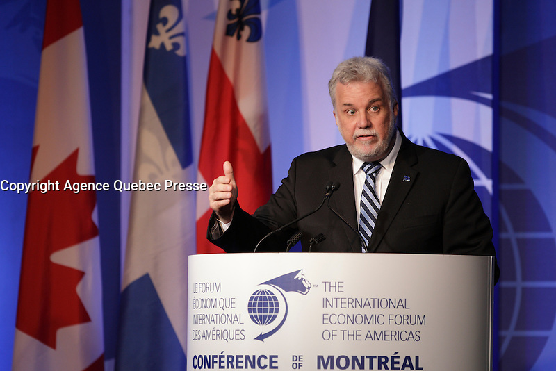 Philippe Couillard, <br /> Premier of Quebec attend the 22nd edition of the Conference of Montreal, held June 13 to 15, 2016<br /> <br /> PHOTO : Pierre Roussel -  Agence Quebec Presse