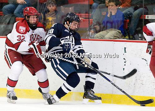 Desmond Bergin (Harvard - 37), Kenny Agostino (Yale - 18) - The Yale University Bulldogs defeated the Harvard University Crimson 5-1 on Saturday, November 3, 2012, at Bright Hockey Center in Boston, Massachusetts.