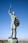 Bronze statue  by John Doubleday of Saxon hero Brythnoth, Maldon, Essex, England. Although defeated by the Danes at the battle of Malden in 991 his actions as Earl of Essex encouraged others to  resist the invaders.