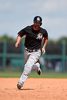 Miami Marlins infielder Scott Sizemore (29) during a Spring Training game against the Detroit Tigers on March 25, 2015 at Joker Marchant Stadium in Lakeland, Florida.  Detroit defeated Miami 8-4.  (Mike Janes/Four Seam Images)