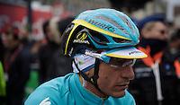 Paolo Tiralongo's (ITA/Astana) improvised rain/snow helmet reflector #plasticfantastic<br /> <br /> 102nd Liège-Bastogne-Liège 2016