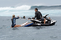 Namotu Island Resort, Nadi, Fiji (Monday, May 22 2017): Bethany Hamilton (HAW) with local photographer Stu Johnson (FJI) - The wind  this morning was light from the South South East with high tide around 3.30pm.  The swell had jumped overnight and continued to build through the day. Cloudbreak had 10' plus faces and was barreling through the inside ,especially around the 9.30 low tide. A big group of pro surfers, both male and female, were surfing Cloudbreak in preparation for the OK Fiji Pro which begins on Saturday. Guests surfed Cloudbreak and Lefts.   The fishing crew returned with a catch of Ruby Snapper. Photo: joliphotos.com