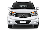 Car photography straight front view of a 2014 Ssangyong Rodius Sapphire 5 Door Minivan Front View