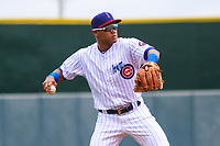 Iowa Cubs shortstop Addison Russell (3) throws to first base during a Pacific Coast League game against the San Antonio Missions on May 2, 2019 at Principal Park in Des Moines, Iowa. Iowa defeated San Antonio 8-6. (Brad Krause/Four Seam Images)