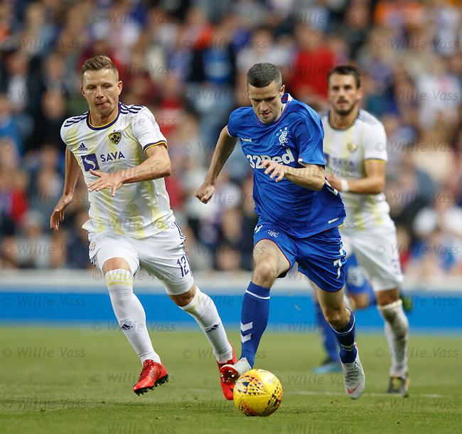09.08.18 Rangers v Maribor: Jamie Murphy makes a break