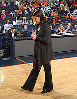 Duke head coach Joanne P. McCallie walks on the court during an NCAA college basketball game in Charlottesville, Va. Duke defeated Virginia 62-41...
