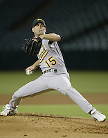 Tim Hudson of the Oakland Athletics pitches during a 2002 MLB season game against the Los Angeles Angels at Angel Stadium, in Anaheim, California. (Larry Goren/Four Seam Images)