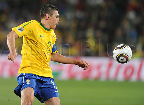 Lucio of Brazil in action during the 2010 FIFA World Cup soccer match between Brazil and Chile at Ellis Park Stadium on June 28, 2010 in Johannesburg, South Africa.