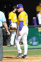 Paul Mainieri #1 of the LSU Tigers at Lindsey Nelson Stadium in game against Tennessee Volunteers in Knoxville, TN March 27, 2010 (Photo by Tony Farlow/Four Seam Images)