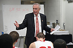 Wisconsin Badgers Head Coach Bo Ryan address his team after the fourth-round game in the NCAA college basketball tournament against the Baylor Bears Thursday, March 27, 2014 in Anaheim, California. The Badgers won 69-52. (Photo by David Stluka)