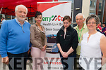 "Jay Galvin (chairman of Kerry Cork Cancer Link Bus), Mary Lucey Director of Kerry Cork Cancer Link Bus), Trish Kelly Office Admin of Kerry Cork Cancer Link Bus), Tom Reidy (Director of Kerry Cork Cancer Link Bus), and Breda Dyland (Service Manager of Kerry Cork Cancer Link Bus aka ""The Boss"") enjoying Lip Lickin' BBQ in Scotts Street in Aid of the Kerry Cork Cancer Link Bus. This is a first stop in Killarney 4th of July Celebrations. Photo by Marek Hajdasz www.mhphotos.ie"
