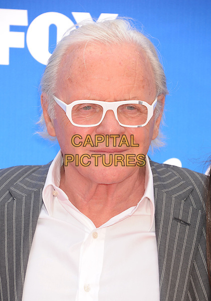 "Sir Anthony Hopkins.arriving at FOX's ""American Idol"" Grand Finale at Nokia Theatre L.A. Live in Los Angeles, California, USA,.May 16th 2013..portrait headshot white frames glasses shirt grey gray pinstripe striped jacket .CAP/ROT/TM.©Tony Michaels/Roth Stock/Capital Pictures"