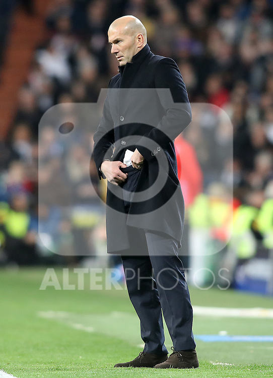 Real Madrid's coach Zinedine Zidane during Champions League 2016/2017 Round of 16 1st leg match. February 15,2017. (ALTERPHOTOS/Acero)