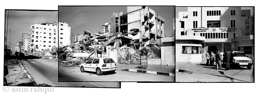 Location: Gaza City..The bombed remains of the Ministry of Justice and the Ministry of Education.