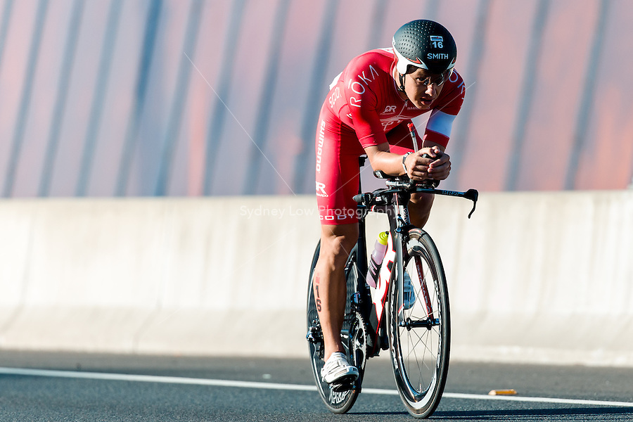 MELBOURNE, March 21, 2015 - Callum MILLWOOD (NZL) #16 on the bike leg of the 2015 IRONMAN Asia-Pacific Championship in Melbourne, Australia on Sunday March 21, 2015. (Photo Sydney Low / sydlow.com)