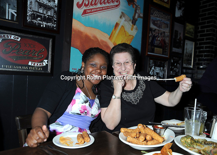 Shenell Edmonds and Judy Vclek  on right attending the Shenell Edmonds Ice Cream Social at HB Burger on .March 13, 2011 in New York City.