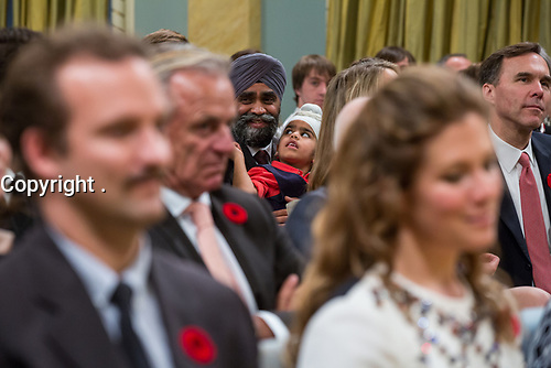 Minister of Defence Harjit Sajjan is joined by his son at the swearing-in ceremony at Rideau Hall. November 4, 2015.