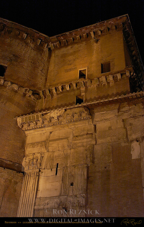 Vestibule exterior facing at night Pantheon Campus Martius Rome