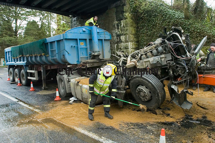 The scene at the site of the crash in Crusheen where a truck collided with the bridge on Thursday morning last. Photograph by John Kelly