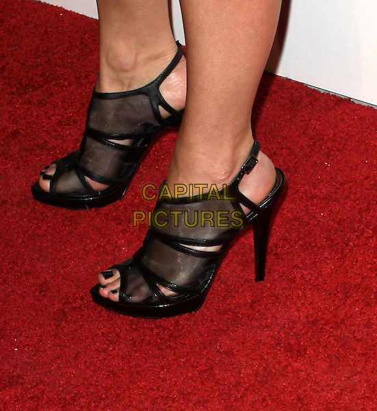 JESSICA LOWNDES' SHOES .Charlotte Ronson and JCPenney Spring Cocktail Jam held At The The Milk Studio, Los Angeles, California, USA, 4th May 2010..detail black mesh open toe shoes sandals slingbacks heels  feet.CAP/ADM/KB.©Kevan Brooks/AdMedia/Capital Pictures.