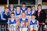 Caherciveen team celebrate winning the u18 Boys plate after defeating Rathmore Ravens in the final in Killlarney on Saturday front row l-r: Shane Coffey, Rokas Stanisauskas, Stephen O'Connor, . Back row: Connie O'Connor Coach, Niall O'Connor, Stephen fogarty, Jim Lynch, Matthew O'Neill, Ciaran clifford and Noreen O'Connor manager
