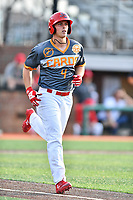 Johnson City Cardinals third baseman Nolan Gorman (4) walks to first base during a game against the Pulaski Yankees at TVA Credit Union Ballpark on July 7, 2018 in Johnson City, Tennessee. The Cardinals defeated the Yankees 7-3. (Tony Farlow/Four Seam Images)