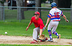 WINSTED , CT-080720JS17—Waterford's Preston Tabor (15) beats the throw to first as Winsted's Luke Green (70) scoops up the throw during their CTEBA U19 playoff game Friday at Walker Field in Winsted. <br /> Jim Shannon Republican-American