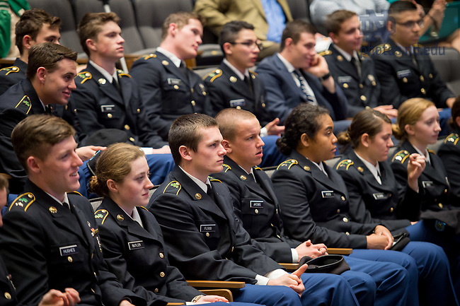 April 19, 2017; Army ROTC cadets attend a lecture on leadership principles by Major General Thomas C. Seamands, Commanding General, U.S. Army Human Resources Command, in the Jordan Auditorium at Mendoza College of Business. (Photo by Matt Cashore/University of Notre Dame)