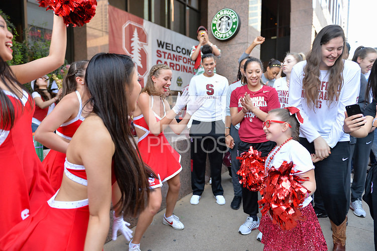 Dallas, TX - Friday March 31, 2017: Players, fans, cheerleaders prior to the NCAA National Semifinal Game between the women's basketball teams of Stanford and South Carolina at the American Airlines Center.