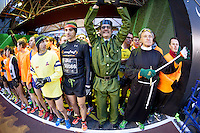 Runners warming up at start race at the San Silvestre Marathon 2012 in Madrid