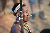 A Matis indigenous Brazlian prepares to compete during the International Indigenous Games, in the city of Palmas, Tocantins State, Brazil. Photo © Sue Cunningham, pictures@scphotographic.com 27th October 2015