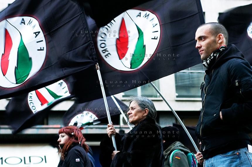 Milan, Fiamma Tricolore party supporters during a demonstration in the city center.<br /> <br /> Milano, sostenitori del partito della Fiamma Tricolore durante un corteo in centro citt&agrave;