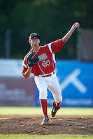Batavia Muckdogs pitcher Justin Jacome (44) delivers a warmup pitch during a game against the Williamsport Crosscutters on July 15, 2015 at Dwyer Stadium in Batavia, New York.  Williamsport defeated Batavia 6-5.  (Mike Janes/Four Seam Images)