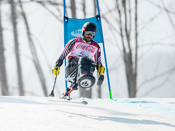 PyeongChang 10/3/2018 - Kurt Oatway skis in the men's sitting downhill at the Jeongseon Alpine Centre during the 2018 Winter Paralympic Games in Pyeongchang, Korea. Photo: Dave Holland/Canadian Paralympic Committee