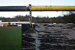 Peeling paint on an advertising sign at Lye Meadow before Alvechurch hosted Highgate United in a Midland Football League premier division match. Originally founded in 1929 and reformed in 1996 after going bust, the club has plans to move from their current historic ground to a new purpose-built stadium in time for the 2017-18 season. Alvechurch won this particular match by 3-0, watched by 178 spectators, taking them back to the top of the league.