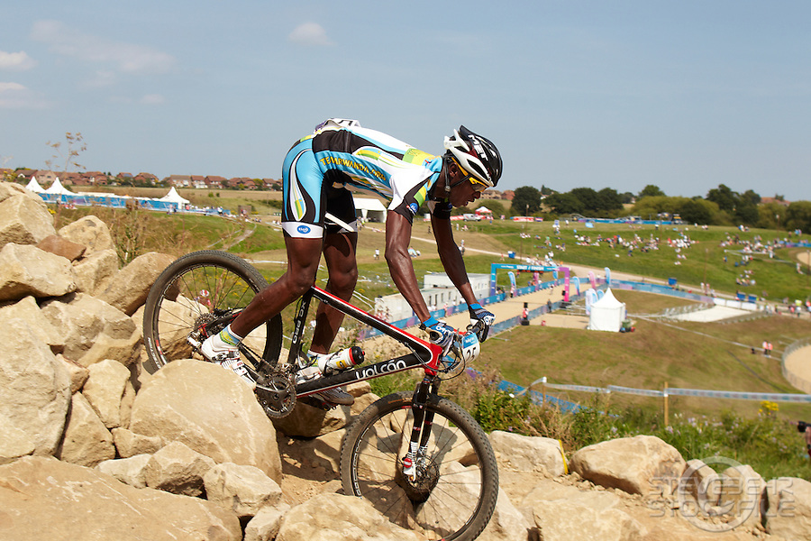 Adrien Niyonshuti , Rwanda . London Prepares Mountain Bike Olympic Test Event , Hadleigh Farm , Essex , July 2011 pic copyright Steve Behr / Stockfile