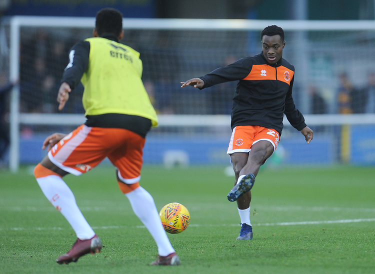 Blackpool's Marc Bola during the pre-match warm-up <br /> <br /> Photographer Kevin Barnes/CameraSport<br /> <br /> The EFL Sky Bet League One - AFC Wimbledon v Blackpool - Saturday 29th December 2018 - Kingsmeadow Stadium - London<br /> <br /> World Copyright © 2018 CameraSport. All rights reserved. 43 Linden Ave. Countesthorpe. Leicester. England. LE8 5PG - Tel: +44 (0) 116 277 4147 - admin@camerasport.com - www.camerasport.com