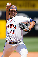 Relief pitcher Kevin Arico #11 of the Virginia Cavaliers in action against the Boston College Eagles at the 2010 ACC Baseball Tournament at NewBridge Bank Park May 26, 2010, in Greensboro, North Carolina.  The Cavaliers defeated the Eagles 6-4.  Photo by Brian Westerholt / Four Seam Images