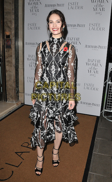 Lily James attends the Harper's Bazaar Women of the Year Awards 2015, Claridge's Hotel, Brook Street, London, England, UK, on Tuesday 03 November 2015. <br /> CAP/CAN<br /> &copy;Can Nguyen/Capital Pictures