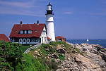 Summer view of Portland Head Light, Cape Elizabeth, Maine, USA