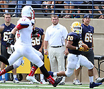 SIOUX FALLS, SD - SEPTEMBER 7:  Dajon Newell #20 from Augustana looks at defender Brandon Nelson #22 from Minnesota State University Moorhead in the first quarter of their game Saturday at Augustana. (Photo by Dave Eggen/Inertia)