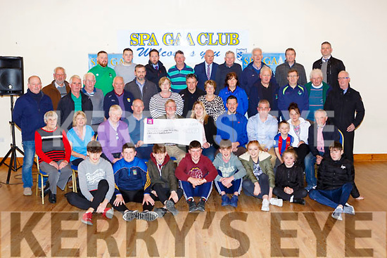 Gerard Mangan Spa Chairman and Jim Gleeson Ian O'Connell funraising Chairperson presents a cheque of €118,586 to the trustees of the fund Ivor Flynn, Tadhg Hickey and Deirdre O'Sullivan-Darcy in Spa GAA club on Thursday night