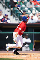 Buffalo Bisons first baseman Chris Colabello (23) at bat during a game against the Louisville Bats on May 2, 2015 at Coca-Cola Field in Buffalo, New York.  Louisville defeated Buffalo 5-2.  (Mike Janes/Four Seam Images)