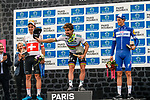 Podium with 1st Peter SAGAN, 2nd Silvan DILLIER and 3rd Niki TERPSTRA after the 2018 Paris-Roubaix race, Velodrome Roubaix, France, 8 April 2018, Photo by Thomas van Bracht / PelotonPhotos.com | All photos usage must carry mandatory copyright credit (Peloton Photos | Thomas van Bracht)